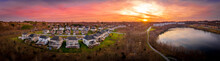 Aerial Sunset Panorama View Of...