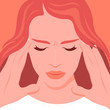 Face of a woman suffering from headache and migraine. Overwork. Symptom of influenza and other diseases. Stress. Vector flat illustration