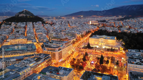 Aerial drone photo of illuminated festive Syntagma square featuring Greek Parlia Canvas Print
