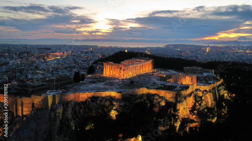 Aerial drone night shot of iconic Acropolis hill and the Parthenon at dusk with Canvas Print
