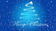 Christmas tree and falling snow on a blue background with greeting text for Christmas
