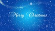 Greeting Christmas card with stylized falling snowflakes on a blue background