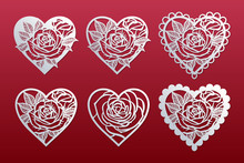 Laser Cut Hearts Set With Pattern Of Roses. Templates For Interior Design, Layouts Wedding Cards, Invitations, Valentine's Day Cards. Vector Floral Hearts.