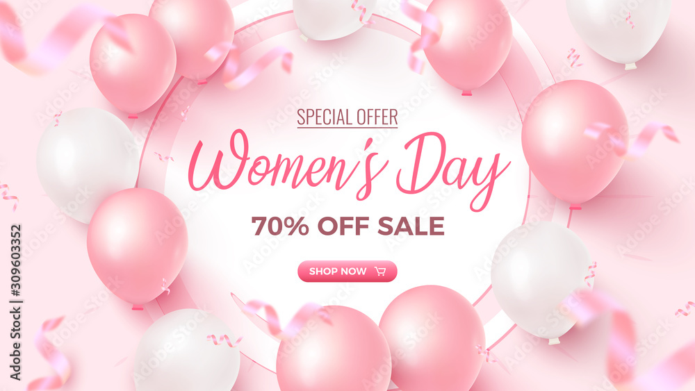 Fototapeta Women's Day Special Offer. 70% Off Sale banner design with white frame, pink and white air balloons on rosy background