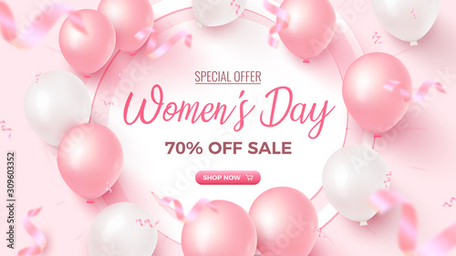 Obraz Women's Day Special Offer. 70% Off Sale banner design with white frame, pink and white air balloons on rosy background - fototapety do salonu