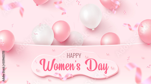 Fototapeta Happy Women's Day text design with custom shape, pink and white air balloons, falling foil confetti on rosy background obraz na płótnie