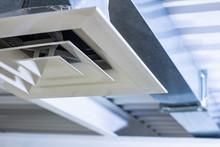 Square Anemostat On Galvanized Duct Ventilation System Details