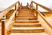 Wooden Stairway On Beach
