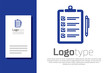 Blue Verification of delivery list clipboard and pen icon isolated on white background. Logo design template element. Vector Illustration