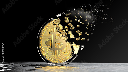 Disintegration of a BTC bitcoin token Wallpaper Mural