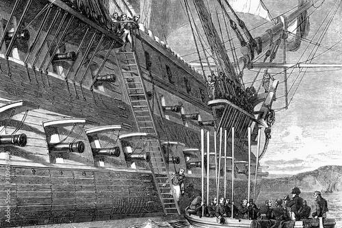 Embark of Napoleon aboard the ship Bellerophon Canvas Print