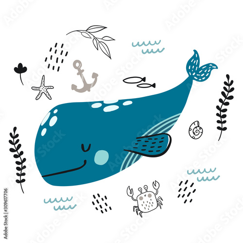 Photo Vector doodle blue whale underwater life pattern