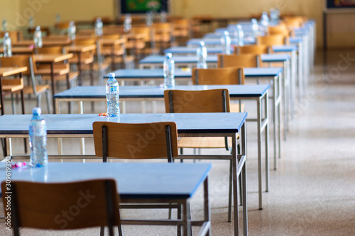 Photo Exam examination room or hall set up ready for students to sit test