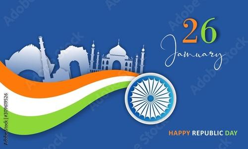 Obraz Flat Happy Indian Republic day celebration poster or banner background - fototapety do salonu