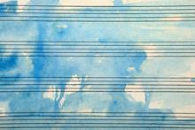Old Music Sheet In Blue Waterc...