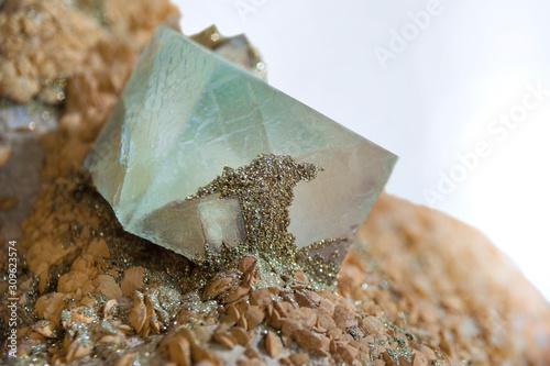 cubic crystal natural fluorite gemstone Wallpaper Mural