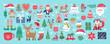 Christmas holiday cute elements set.
