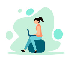 Social Networks. Communication Over The Internet. Chat, Video, News, Messages, Website, Search For Friends, Mobile Web Graphics. Woman Looking At A Laptop. Vector Illustration. Flat Style