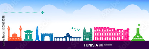 Cuadros en Lienzo Tunisia travel destination grand vector illustration.