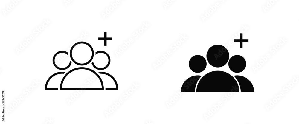 Fototapeta add group vector isolated icon vector