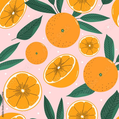 Oranges hand drawn seamless pattern for print, textile, fabric. Modern hand drawn stylized citrus background. Fotomurales
