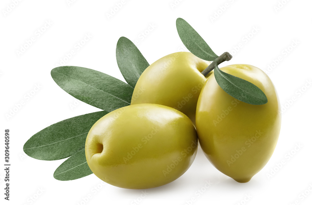 Fototapeta Close-up of olives with olive leaves, isolated on white