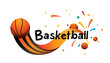 Basketball sports banner or poster design. Vector abstract colored sports background.