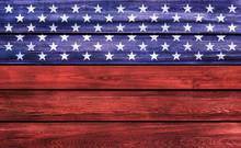USA Background. USA Flag Elements On Wood.