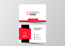 Red Modern Business Card. Visi...