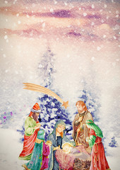 Nativity scene with three wise men. Watercolor christian banner