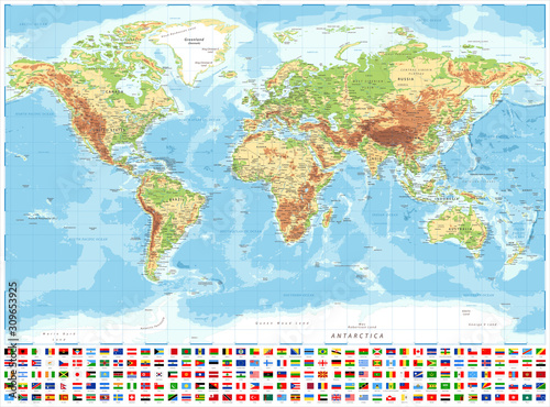 Photo  World Map and Flags - Physical Topographic - Vector Detailed Illustration
