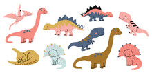 Cute Dinosaurs Doodles Set Isolated On White