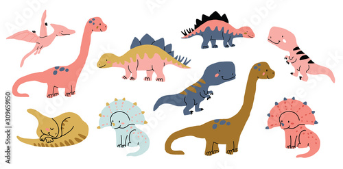 Cute dinosaurs doodles set isolated on white Wallpaper Mural