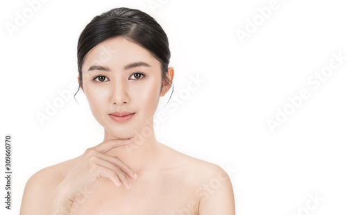 Obraz  Closeup portrait of asian fair perfect healthy glow skin woman isolated on white background, asian beautiful girl with pretty smile on her face. Beauty clinic skincare spa and surgery concept - fototapety do salonu
