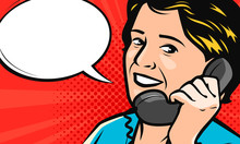 Beautiful Young Woman Speaks On The Phone. Vector Illustration In Style Comic Pop Art