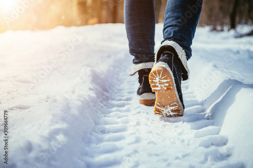 obraz PCV Girl is walking on snow, wintertime, cut out