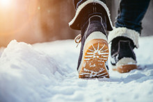 Girl Is Walking On Snow, Winte...