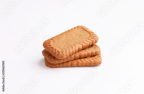 Leinwand Poster caramel biscuits on white background