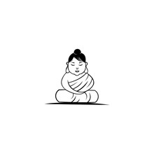Buddha Statue Vector Icon, Fil...