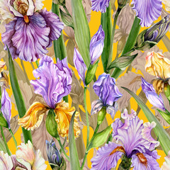 Panel Szklany Kwiaty Beautiful iris flowers and leaves on yellow background. Seamless exotic floral pattern. Watercolor painting. Hand drawn illustration.