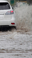 Car Caught In Flash Flood Waters