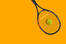 Tennis Racket Ball On Yellow B...