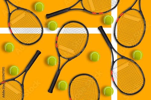 Fototapeta Rakieta tenisowa i  piłki na żółtym tle