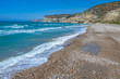 Republic of Cyprus. Kuklia. Mediterranean coast on a Sunny day. Deserted pebble beach. Seascape. Rocks on the sea coast. Holidays in Cyprus. Natural beauty of Cyprus.
