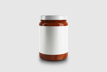 Glass Jar With Sauce Or Jam Is...