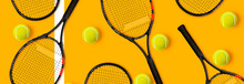 Tennis Racket Balls On Yellow ...