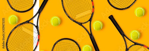 Fotografie, Tablou Tennis racket balls on yellow background
