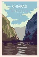 Chiapas Retro Poster. Chiapas Travel Illustration. States Of Mexico