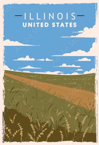 Illinois retro poster Wallpaper Mural