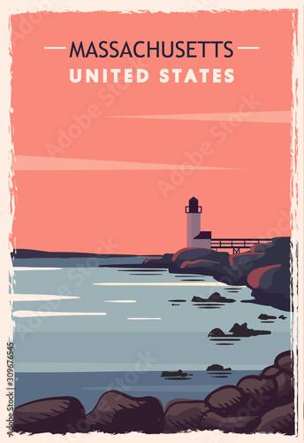 Obraz na plátně Massachusetts retro poster